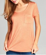 Relaxed Scoop Neck Top, Scoop Neck Pocket Tee, Relaxed Womens Top, Peach - $14.99