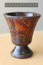 RARE! PAINTED 18TH CENTURY WOOD MORTAR! PESTLE DANISH MIDDLE AGES VTG CU... - $1,660.00