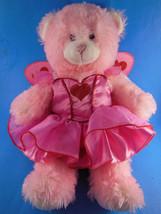 "Build A Bear 15"" SOFT Pink bear w beautiful heart decorated dress w ange... - $17.81"