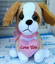 "Valentines Plush Floppy Ear Puppy Dog ""Love You"" 7.5"" H ""New"" - $7.50"