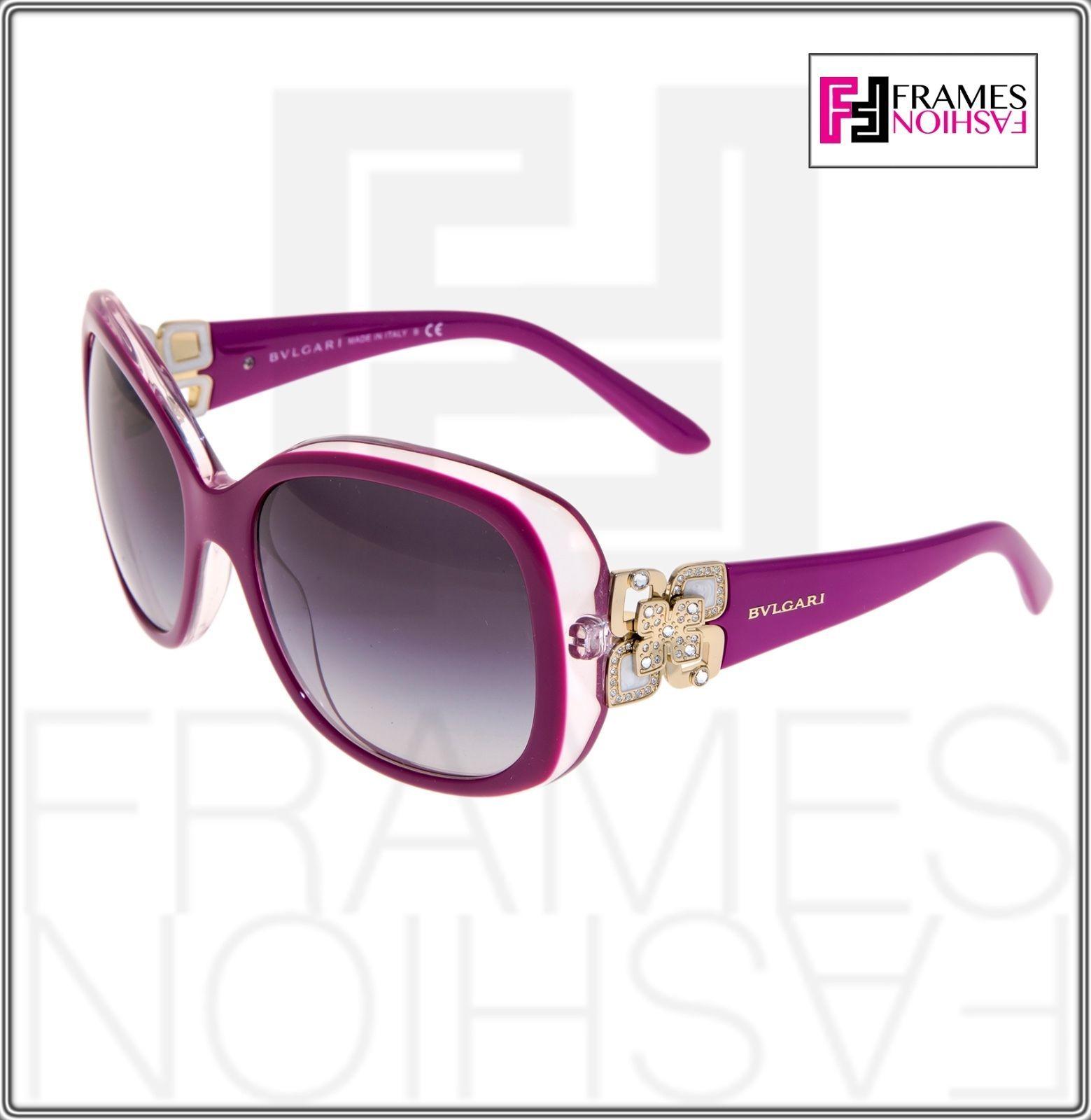 BVLGARI GIARDINI ITALIANI 8172B Pink Fuchsia Gold Square Flower Sunglasses 8172