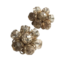 50s Eisenberg Signed Golden Filigree Clear Beaded Cluster Flower Clip On... - $55.00