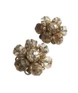 50s Eisenberg Signed Golden Filigree Clear Beaded Cluster Flower Clip On... - $55.00