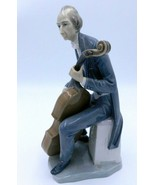 "Lladro Porcelain Cellist #4651 Musical Figurine Statue 12"" Signed Break - $64.99"