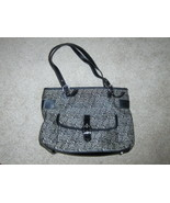Stone Mountain Satchel Black Signature Logo Purse Shoulder Bag Tote Shopper - $24.97