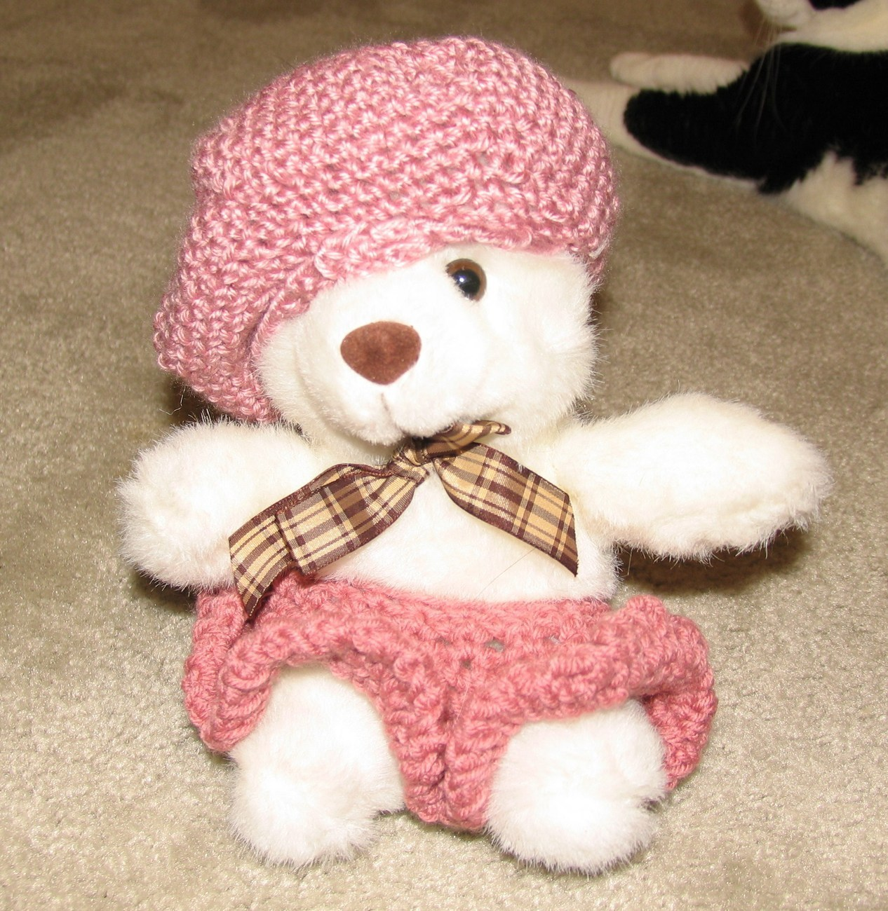 "Primary image for White Plush 12"" Bear with Custom Crocheted Heather Tone Pink Outfit"