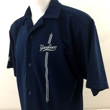 Adidas New York Yankees Button Front Casual Shirt Large Blue Polyester R... - €26,62 EUR