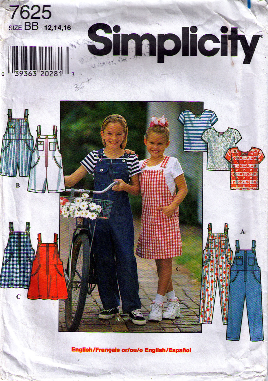 1997 OVERALLS, JUMPER & KNIT TOP Pattern 7625-s Girl Size 12-14-16 UNCUT