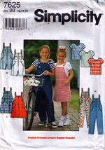 1997 OVERALLS, JUMPER & KNIT TOP Pattern 7625-s Girl Size 12-14-16 UNCUT - $12.99