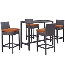 Convene 5 Piece Outdoor Patio Pub Set Espresso Orange EEI-1964-EXP-ORA-SET - $941.00