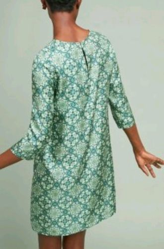 48290c9d755f New Anthropologie Ines Silk Tunic Dress by Nieves Lavi $248 SIZE 2 Green