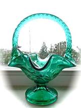 "Green Compote Ruffled Fenton Basket Glass Dish Bowl 5.75"" - $27.41"