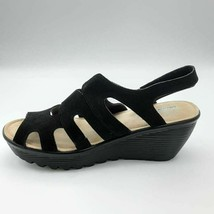 Skechers Womens Parallel Stylin Slingback Sandals Black Cut Out Wedges 7.5 New - $49.49