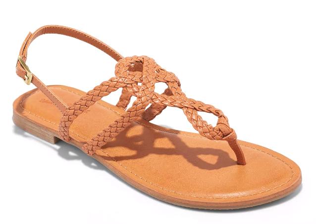 NEW Womens Universal Thread Cognac Jana Braided Quarter Strap Flat Sandals Wide