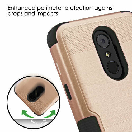 Rose Gold Brushed/Black TUFF Hybrid Case Phone Cover for LG Stylo 4 Plus/Stylo 4