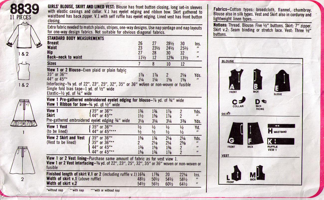 1978 BLOUSE-SKIRT-VEST Pattern 8839-s Girl Size 12