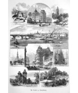 ST .LOUIS Missouri Views in City Courthouse Lafayette St - 1883 German P... - $21.60