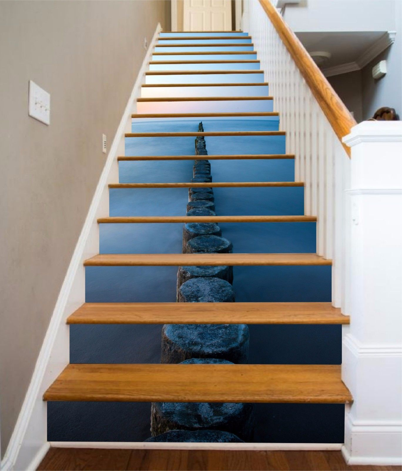 3D Sea Wood Road 67 Stair Risers Decoration Photo Mural