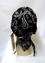 Chemo Head Cover Hat Black Paisley Durag Cap 100% Cotton One Size New - $9.77