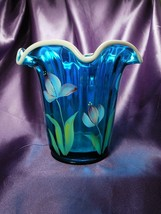 Fenton Heirloom Optics Collection Hand Painted Floral Glass Art - $34.65