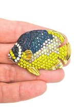 "Cute Fun Yellow Blue & AB Rhinestones Fish Brooch Pin ""C"" Clasp Silver Tone - $11.70"