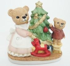 Homco Bears Decorating Christmas Tree Figurine Mother in Apron Boy Bear on Stool - $19.79