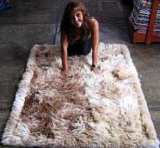 Suri alpaca fur carpet, long-haired fur, 200 x 220 cm/ 6'56 x 7'21 ft - $1,216.00