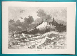 RUSSIA Scenery on Lake Ladoga - 1880s Wood Engraving - $8.99