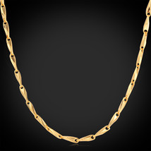 Necklaces, '18K' Stamp 18K Real Gold Plated 50CM 3MM vintage N215 - $29.99
