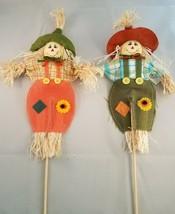 """Set of 2 Mini 14"""" Burlap Scarecrow on a Stick - Straw - Fall - Autumn 17... - $8.90"""