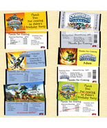 Skylanders Birthday Candy Wrappers 10 each Personalized Custom Made - $10.00