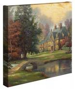 Thomas Kinkade Wickeln Seeufer Manor 14 X 14 Verpackt Leinen - $89.00