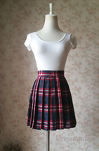 Red and Navy Plaid Skirt High Waisted Pleated Plaid Skirts Mini Plaid Skirt image 2