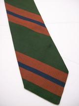 BROOKS BROS  Green/Copper/Blue Wide STRIPES Mens 100  SILK Necktie  s * ... - $15.99