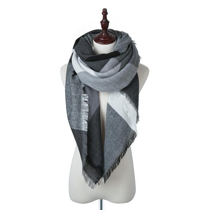 Women Plaid Winter Scarves Square Scarf Cashmere Warm Female Scarves And Shawls