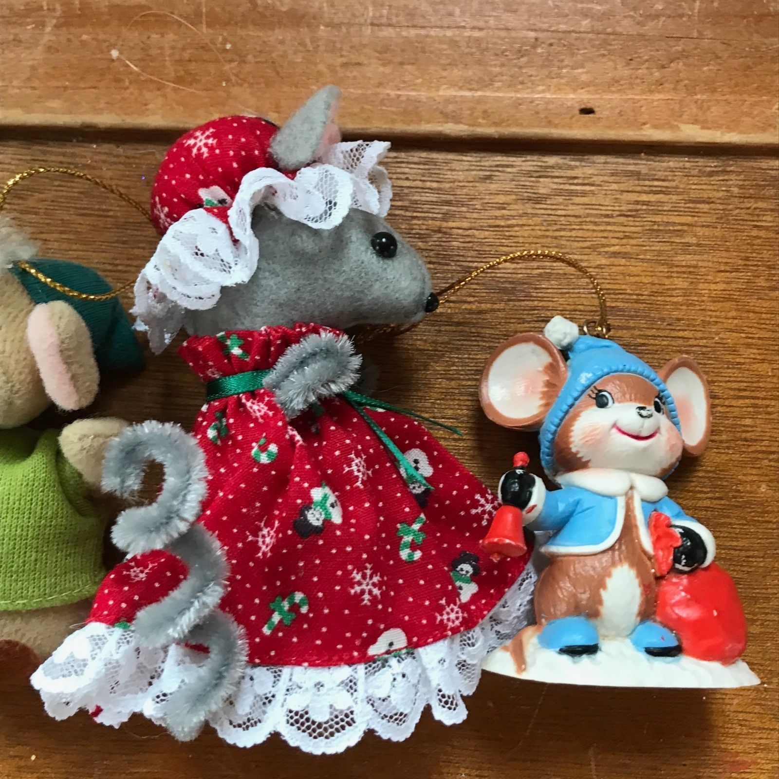 Vintage to Now Lot of Gray Felt w Fabric Dress Flocked Disney Christmas Mouse Tr