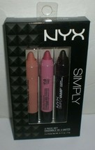 NYX Simply Nude Pink Vamp Lip Cream Crayon Pencils Makeup Gift Set SIMSET02 - $13.98