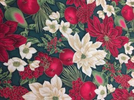 Poinsettia Fruit Holiday Red White Green Cotton... - $12.86