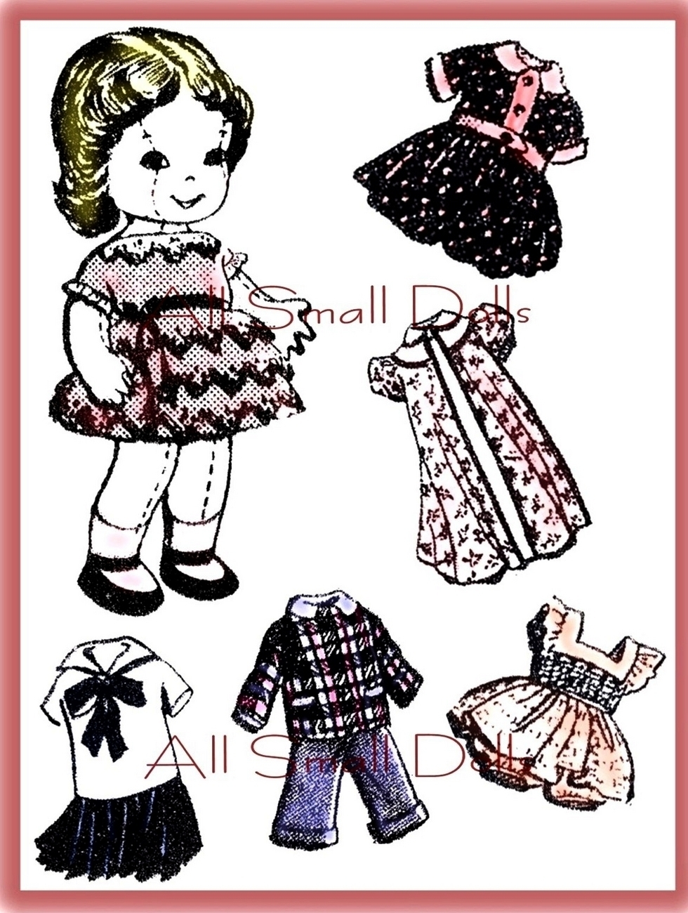 "Primary image for Vintage Pattern for 9"" Cloth doll w/Wardrobe no.1"