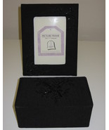Tri Coastal Design Black Beaded Fabric Picture Photo Frame and Trinket Box - $30.00
