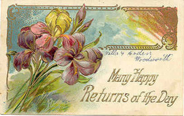Happy Returns of The Day 1909 Vintage Finkenrath Post Card - $5.00