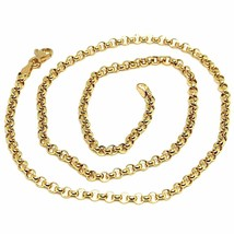 """18K YELLOW GOLD CHAIN 17.70"""", DOME ROUND CIRCLE ROLO LINK 3 MM MADE IN ITALY image 1"""
