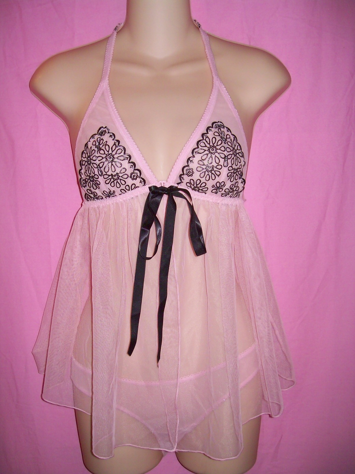 Primary image for Victoria's Secret Gorgeous Halter Babydoll with Cup Embroidery & Bikini Lingerie