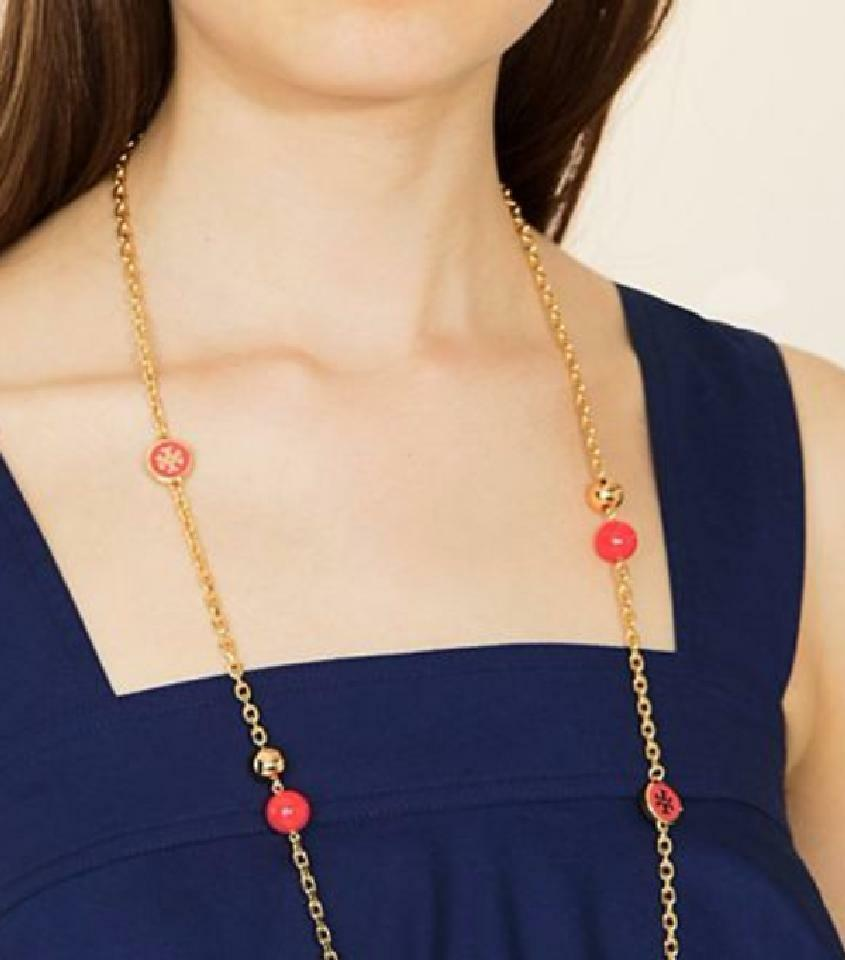 Auth NEW Stunning Tory Burch Lacquered Logo Convertible Rosary Necklace Coral