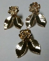 Beautiful Vintage Golden Earrings and Matching Pendant - $24.75