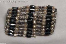 Wheat Pearls / Magnetic Hematite Fashion Lariat  - $18.00