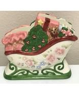 Pfaltzgraff Tea Rose Holiday Catch All Christmas Sleigh Napkin Letter Ho... - $33.99