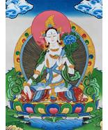 Hand-painted White Tara Tibetan Thangka Art on Canvas, 12 x 15-Inch - $67.00