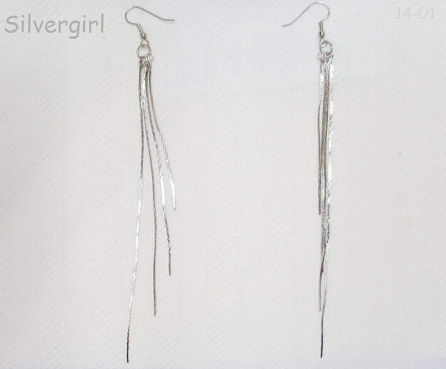 "6"" 4 Strand Silver Plate Rhodium Dangling Chain Earrings"