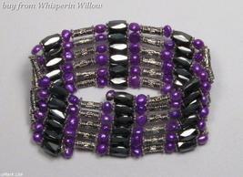 Blue Violet Pearls / Magnetic Hematite Fashion Lariat  - $18.00